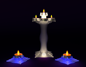 3D model Set tea candlesticks frosted glass