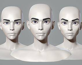 Stylized cartoon female characters base mesh 3D