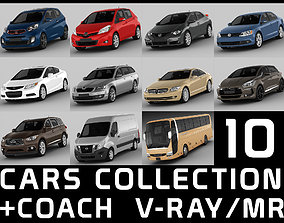 3D model 10 cars collection coach