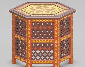 3D model Hexagonal ornate Moroccan table 04