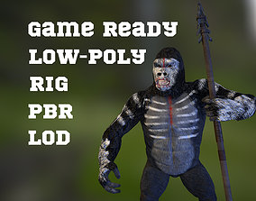 rigged Gorrila warrior with weapons game ready model 2