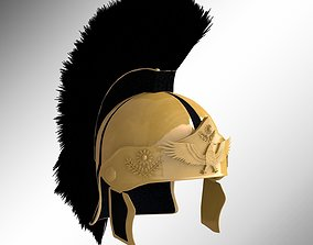 Gold Roman Helmet with plume 3D