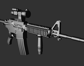 wepaons Rifle low-poly 3D