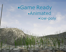 3D asset ThinGrass Animated 2