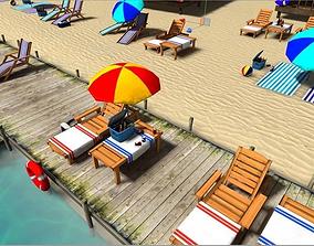 Beach sitting assets 3D model