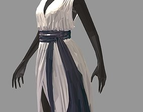 lowpoly art women summer long white dress high 3D asset 1