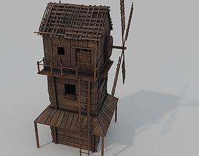 Medieval Wooden Windmill PBR 3D asset