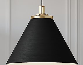 3D BUTTE 24inch CONE AGED BRASS PENDANT White and Black