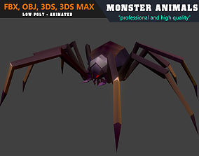 Low Poly Spider Cartoon Monster Animated - Game 3D model