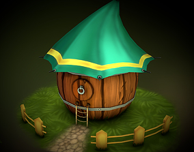 3D model Hand Painted Barrel House