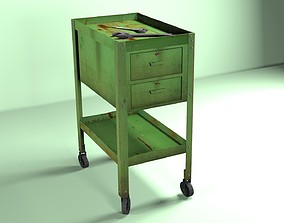 3D model Green Wheeled Tool Cabinet