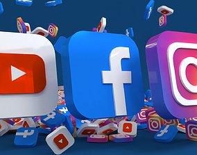 Social media - Facebook - Instagram - YouTube 3D model