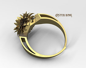 3D print model Aster flower ring jewelry stl