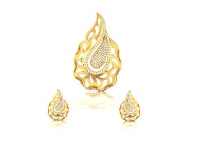 silver Women pendant-earrings set 3dm render detail