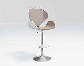 high stool - beige fabric 3D asset