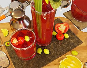 3D model Cocktail Set Bloody Mary