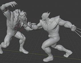 3D printable model X-MEN DIORAMA- WOLVERINE VS SABERTOOTH