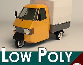3D asset game-ready Low Poly Three Wheeled Truck 02