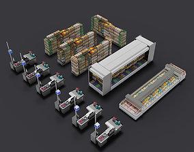 supermarket shop store builder 3D kitbash elements