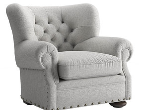 3D model RH Churchill Fabric Chair with Nail Heads