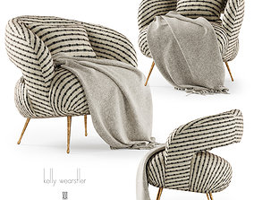 Kelly Wearstler Laurel Lounge chair with plaid 3D asset