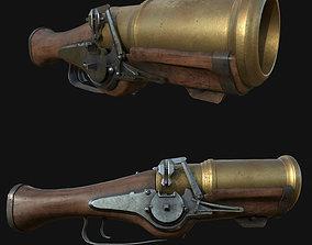3D model game-ready Hand Mortar Bombard