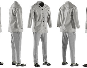 3D model Mens Shirt with Sandals and Pants 11