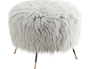 3D model Mongolian Goat Fur Italian Footstool 2