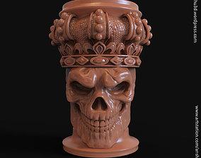 3D printable model King skull with crown vol1 pen holder