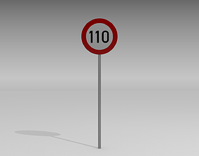 3D model 110 Speed limit sign