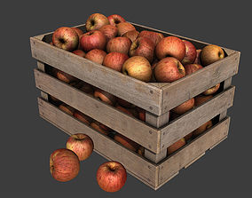 Crate with Red Apples 3D