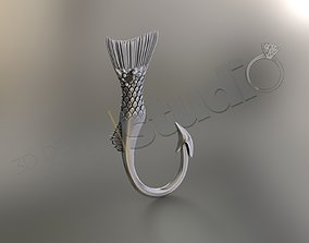 Special fish jewelry pendant with gem 3d model