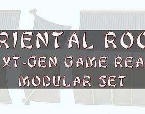 3D asset Oriental Roof Modular Elements Next Gen Game 1
