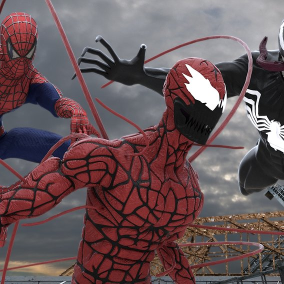 Spider-Man, Venom and Carnage Models from Spider-Man Ultimate 7