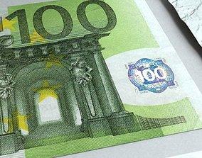 100 Euro Paper Money 3D