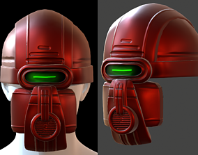 game-ready Gas mask helmet 3d model scifi Low-poly 3