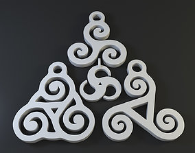 3d Printable Triskelion Triple Spiral Pendant