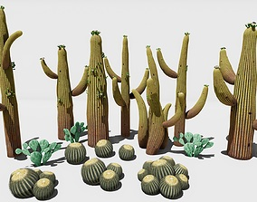 3D model low-poly nature cactus
