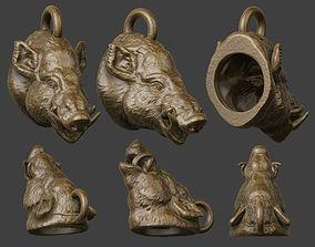 3D printable model boar pendant