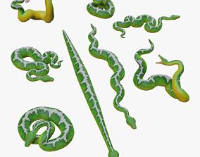 game-ready Emerald Tree Boa - 3D Mesh
