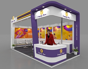 Exhibition stall 3d model 6x3 mtr 2sides open