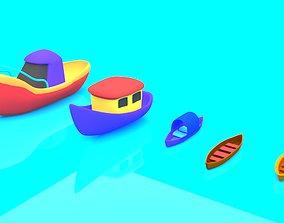 3D asset Cartoon Boat Set