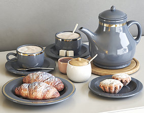 Tea set with croissant and muffin 3D model