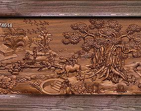 3D print model Mural landscape wood carving file stl OBJ 3