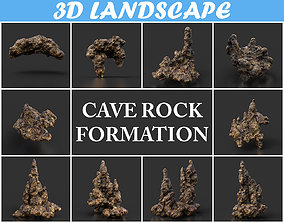 Low poly Stalactite Cave Rock Modular Pack D 2020 3D model