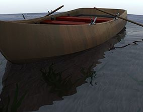 3D asset Simple wooden rowboat and fishing boat