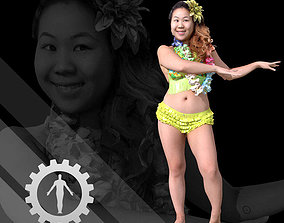 Female Scan - Lily Hawaiian Costume 3D asset low-poly