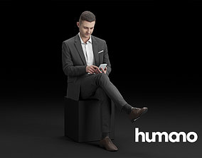3D Humano Elegant Man in suit Sitting and taping on the 1