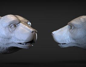 animal Polar bear head 2 3D printable model