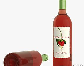 3D Pink Wine Bottle